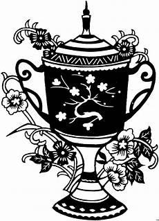 japanische einfache vase ausmalbild malvorlage blumen