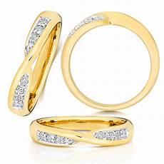 18ct yellow gold diamond crossover wedding ring the