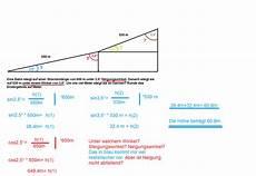 mathe trigonometrie steigungswinkel und neigungswinkel