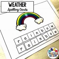 weather spelling worksheets 14679 weather spelling activity spelling activities autism teaching weather cards