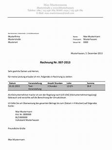 charge rechnung muster englisch