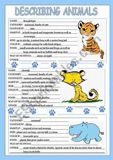 animal worksheets description 13834 describing animals 2 3 esl worksheet by veljaca82