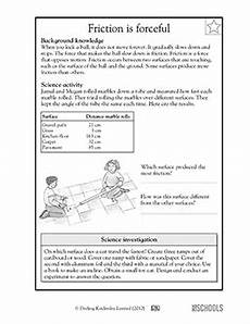 3rd grade 4th grade science worksheets friction is forceful science science worksheets
