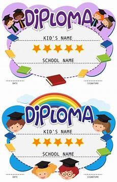plantillas diplomas infantiles de graduacion dos plantillas de diploma con ni 241 os en toga de