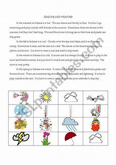 weather reading comprehension worksheets 14512 seasons and weather reading comprehension esl worksheet by sharpsa123