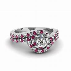 cut swirl halo diamond wedding ring sets with pink sapphire in 14k white gold