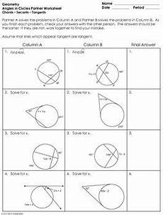 angles in circles using secants tangents and chords partner worksheet geometry activities