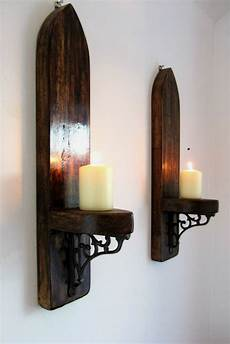 2x large arch rustic wood wall sconce candle holder