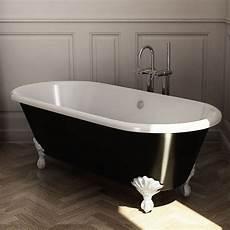 de baignoire baignoire ilot en fonte 170x77 cm peinte en noir pieds
