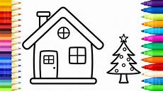 santa house coloring pages how to draw and paint