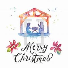merry christmas lettering and nativity photo lightstock