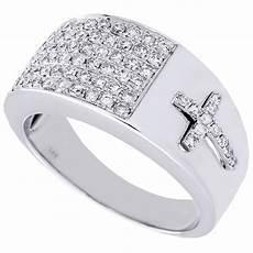 diamond cross ring mens 14k white gold engagement