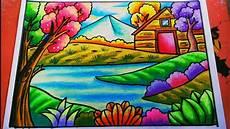 Cara Menggambar Dan Mewarnai Pemandangan Alam Rumah