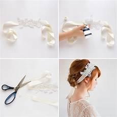 diy wedding hair tiara use a lace appliqu 233 and ivory ribbon to diy this headband