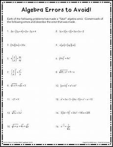 algebra review worksheets for calculus 8564 algebra errors to avoid free worksheet because the hardest part of calculus is the algebra