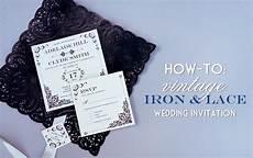 vintage iron lace wedding invitation with diy lace pocket