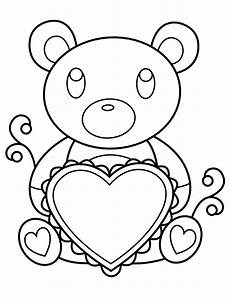 printable teddy holding coloring page