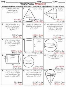 volume of cylinders cones and spheres coloring activity tpt