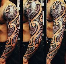 75 Tribal Arm Tattoos For Interwoven Line Design Ideas