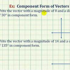 find the component form of a vector given mag