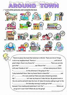 places in town writing worksheets 16040 around town worksheet free esl printable worksheets made by teachers