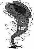Smiling Tornado In Cartoon Style For Weather Design
