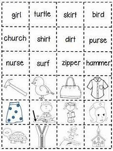 review sheet er ur or ir abeka letters and sounds helpers phonics spelling