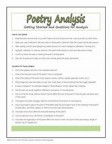 analyzing poetry worksheet 4th grade 25451 poetry analysis questions plus many other free printables for poetry study poetry lessons