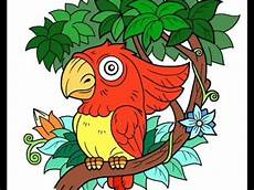 Belajar Mewarnai Gambar Burung Di Atas Ranting Pohon
