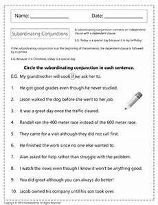 subordinating conjunctions worksheets by homework hut tpt
