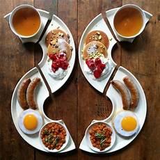 loving man makes symmetrical breakfasts for his boyfriend