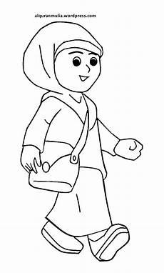 Mewarnai Gambar Kartun Anak Muslimah 57 Alqur Anmulia