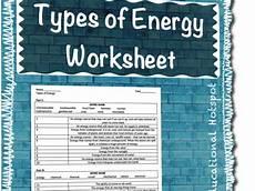 types of energy worksheet types of energy worksheet by myeducationalhotspot
