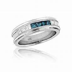 mens white blue diamond wedding band 1 1ct 14k gold princess cut diamonds