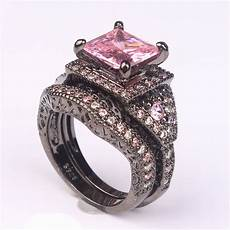 cubic zircon rings for engagement black gold plated purple pink vintage gift fashion