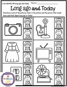 life ago and today activities and sorting worksheets social studies and kindergarten