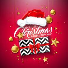 merry christmas illustration with gift box and santa hat premium vector
