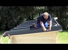 Montage Eines Rib Roof Metalldachs Auf Gartenhaus