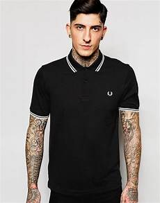 lyst fred perry slim fit polo with tipped in black