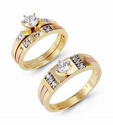14k solid tri color gold princess wedding rings trio sets bridal jewelry