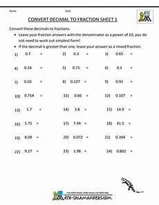 fractions decimals worksheets grade 7 7695 convert decimal to fraction