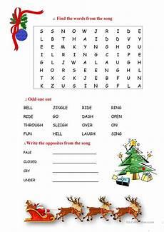 jingle bells activity worksheet free esl printable