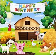 Animal Happy Birthday Photography Background Cloth farm animal barnyard happy birthday tree backgrounds vinyl