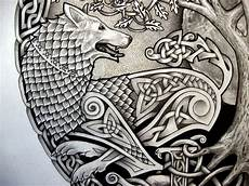 celtic wolf n tree design apanache