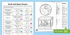 year 1 earth and space questions and colouring worksheet activity