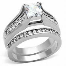 stainless steel s engagement wedding ring aaa cz size 5 11 ebay