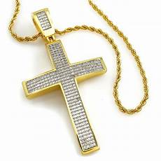 Kreuz Kette - 18k gold cz cross jesus stainless steel rope chain pendant