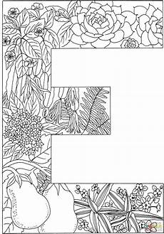 letter e with plants coloring page free printable