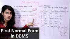 first normal form in dbms 1nf with exle normalization in dbms youtube