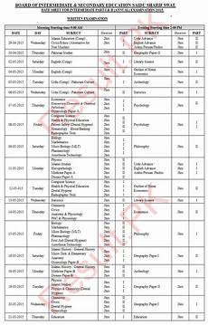 bise swat board date sheet 2020 inter part 1 2 hssc fa fsc inter 11th 12th 1st 2nd